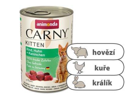 Animonda CARNY Kitten – hovězí, kuře, králík 400 g