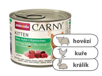 Animonda CARNY Kitten – hovězí, kuře, králík 200 g