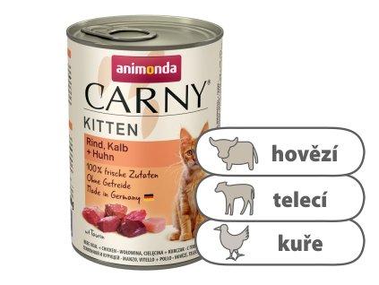 Animonda CARNY Kitten – hovězí, telecí, kuřecí 400 g