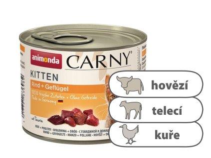 Animonda CARNY Kitten – hovězí, telecí, kuřecí 200 g