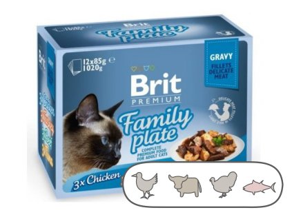 Brit Premium Cat Delicate Fillets in Gravy Familly Plate 1020 g