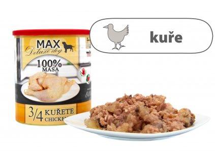 Max tři čtvrtiny kuřete štítek