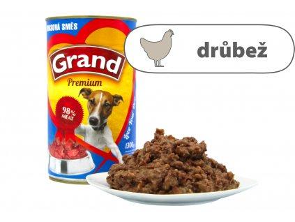 Grand konzerva pro psy Masová směs 1,3 kg