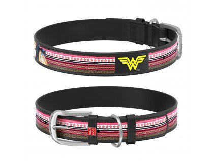 Kožený obojek WAUDOG – Wonder Woman, černý, 30 – 39 cm, 20 mm DOPRODEJ