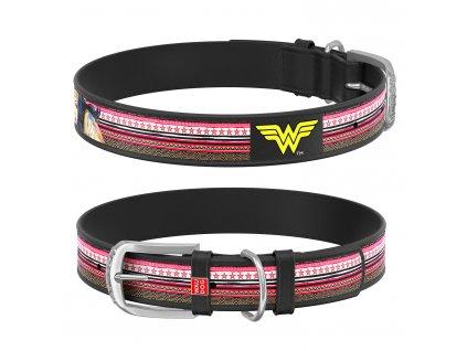 Kožený obojek WAUDOG – Wonder Woman, černý, 30 – 39 cm, 20 mm