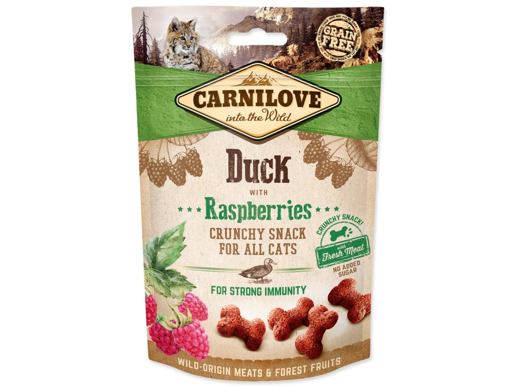 CARNILOVE Cat Crunchy Snack Duck with Raspberries with fresh meat