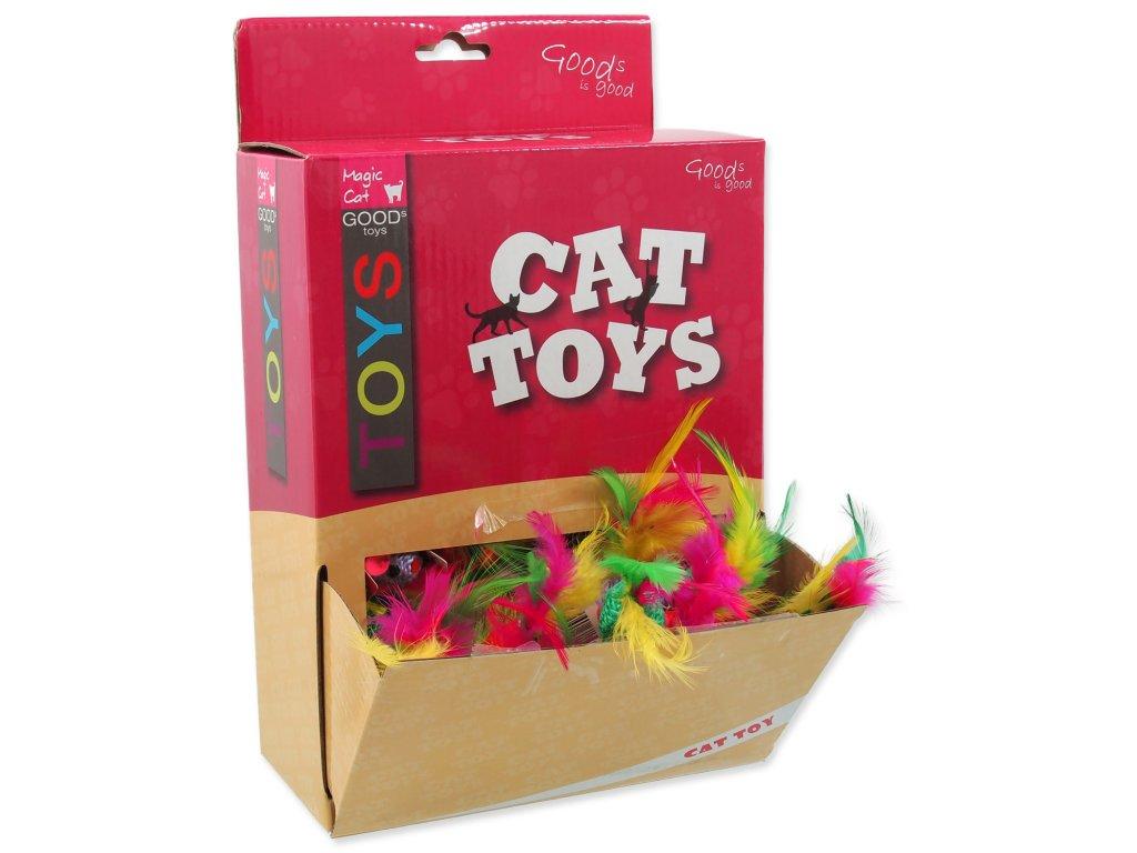 Hračky MAGIC CAT myška bavlněná s pírky 6 cm