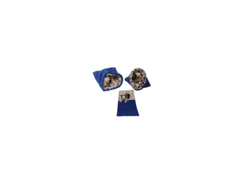 Marysa pelíšek 3v1 pro štěňátka/koťátka - modrý/hnědá kolečka
