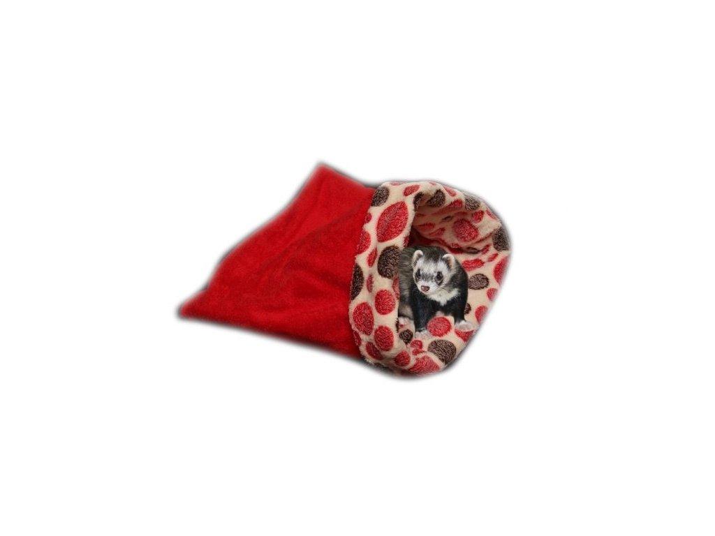 Marysa pelíšek 3v1 pro fretky, červený/červená kolečka