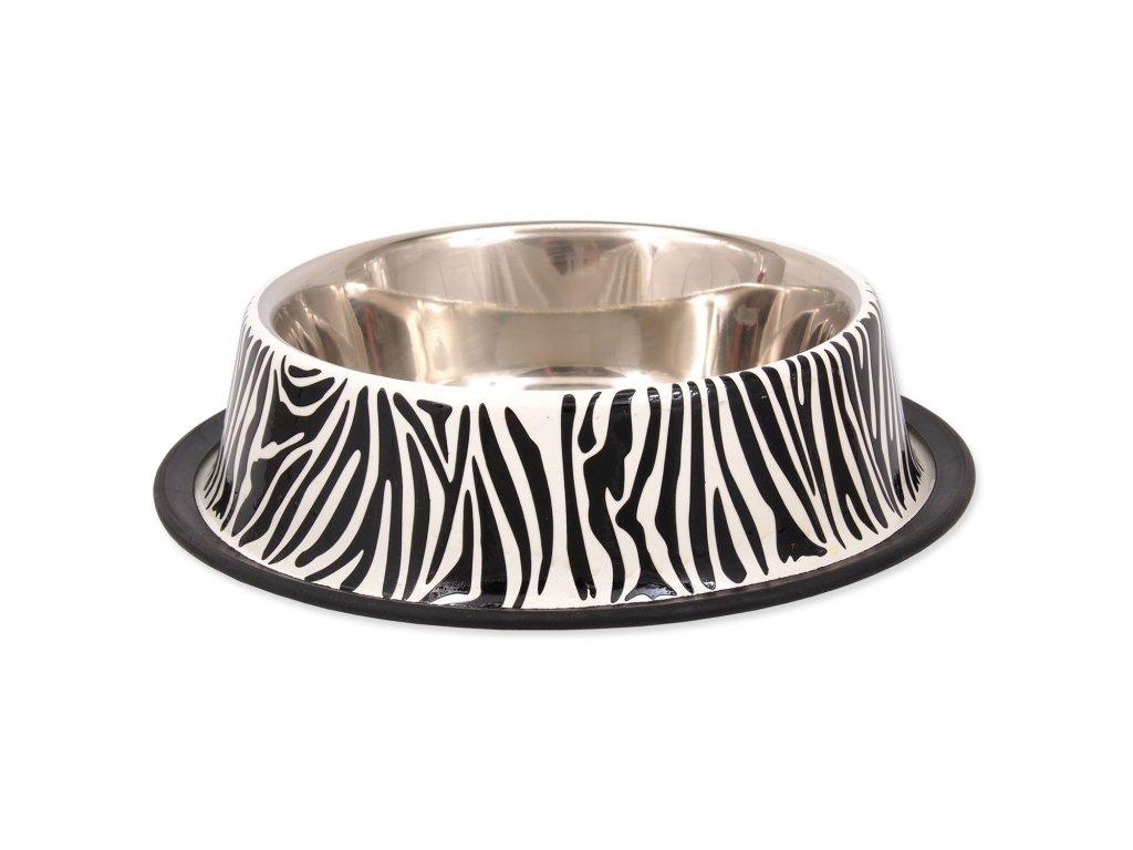 Miska DOG FANTASY nerezová s gumou zebra 33 cm