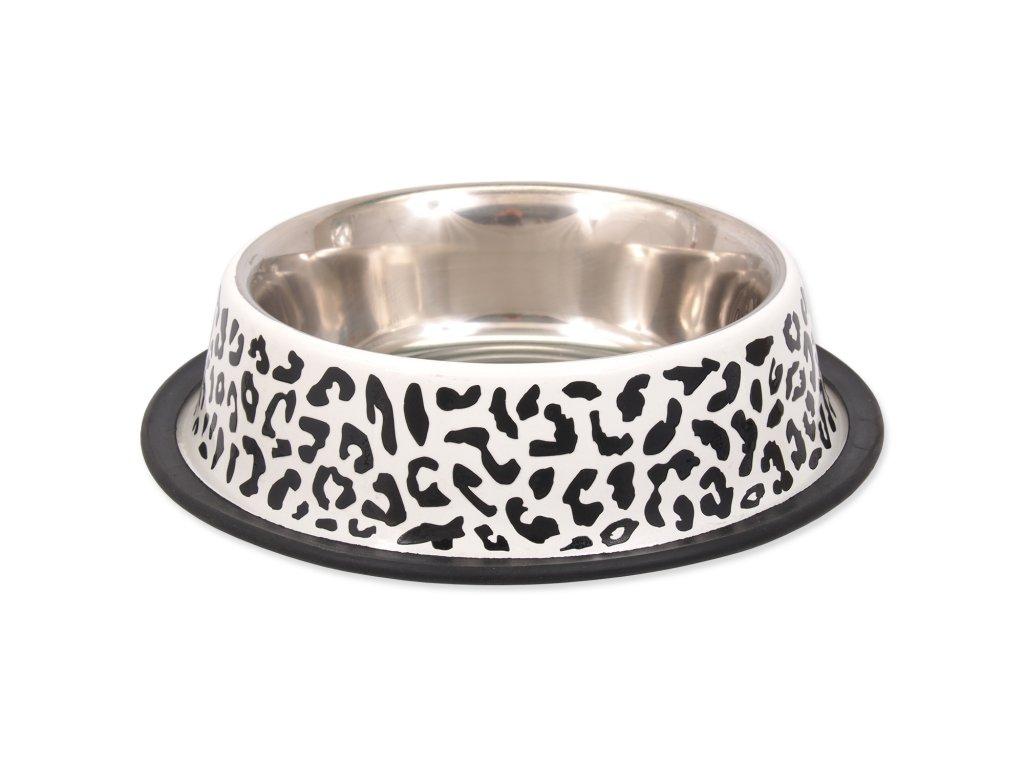 Miska DOG FANTASY nerezová s gumou leopard 25 cm