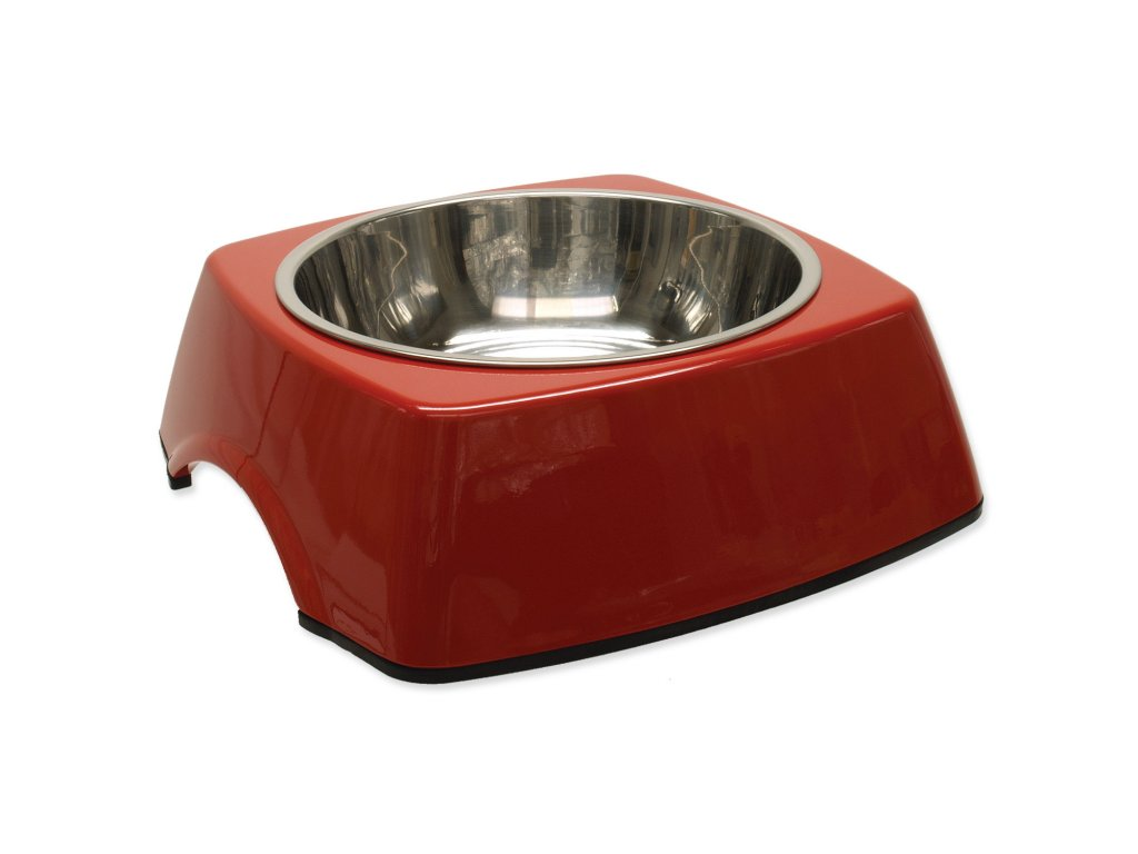 Miska DOG FANTASY nerezová čtvercová červená 22,5 cm