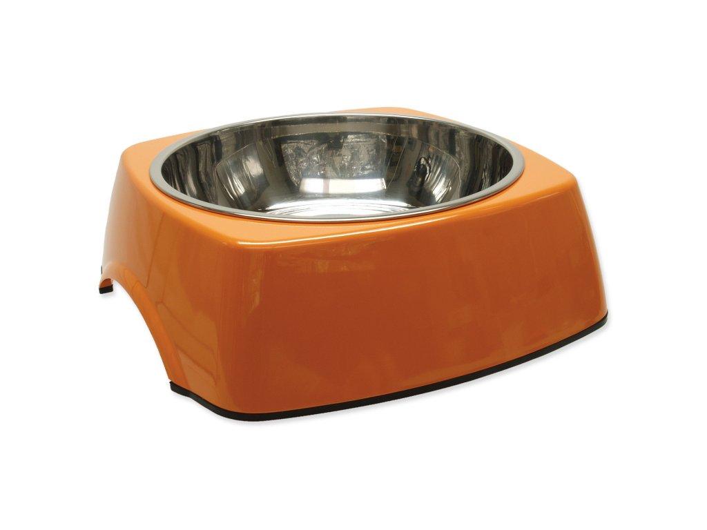 Miska DOG FANTASY nerezová čtvercová oranžová 27,7 cm