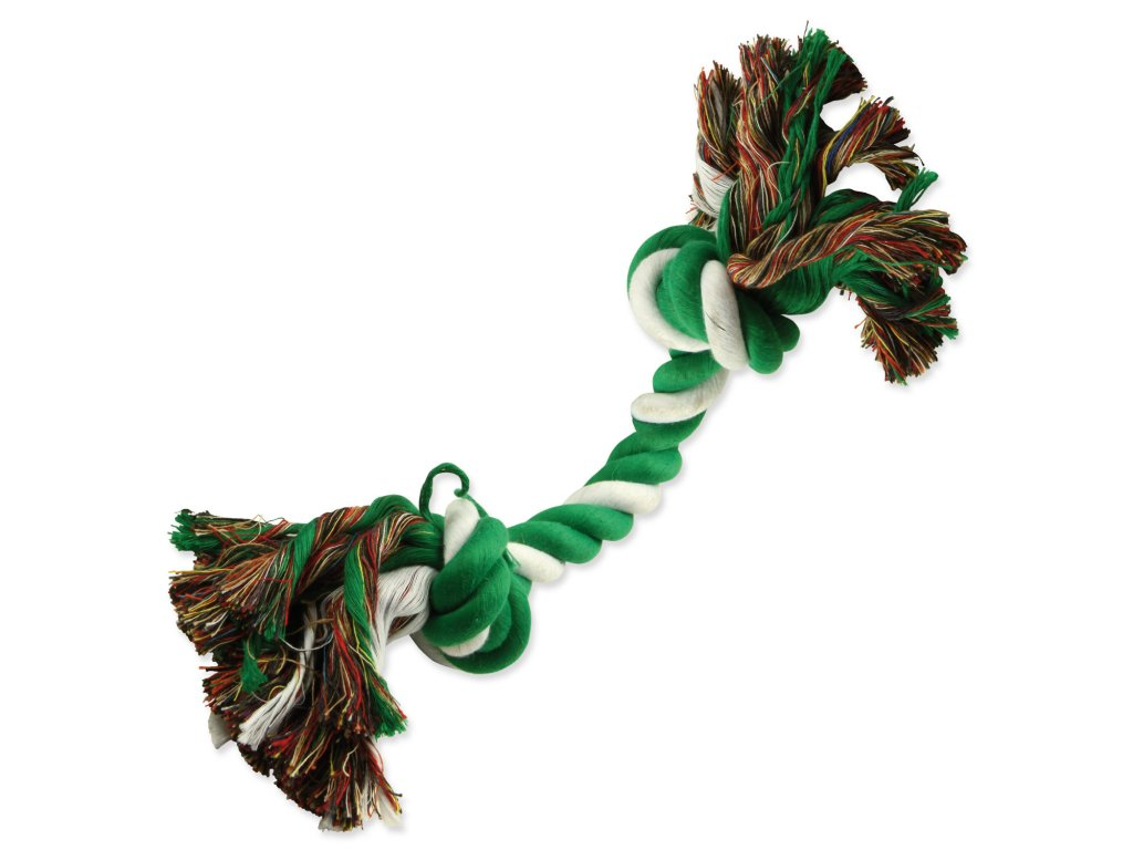 Uzel DOG FANTASY bavlněný zeleno-bílý 2 knoty 20 cm