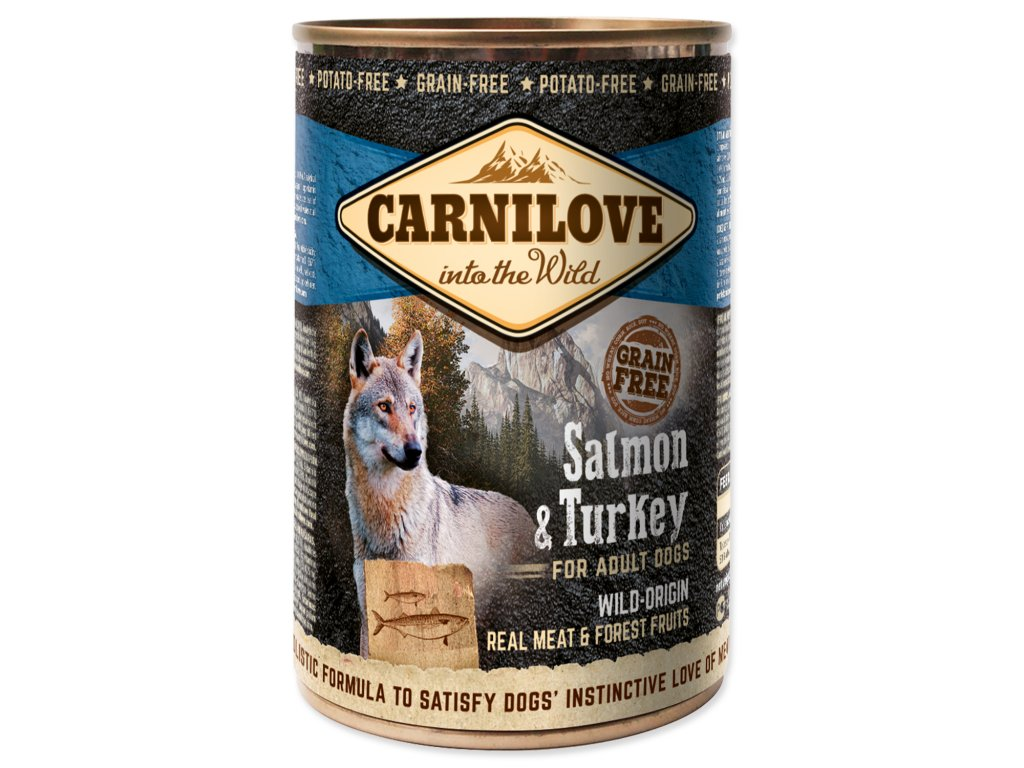 Konzerva CARNILOVE Dog Wild Meat Salmon & Turkey