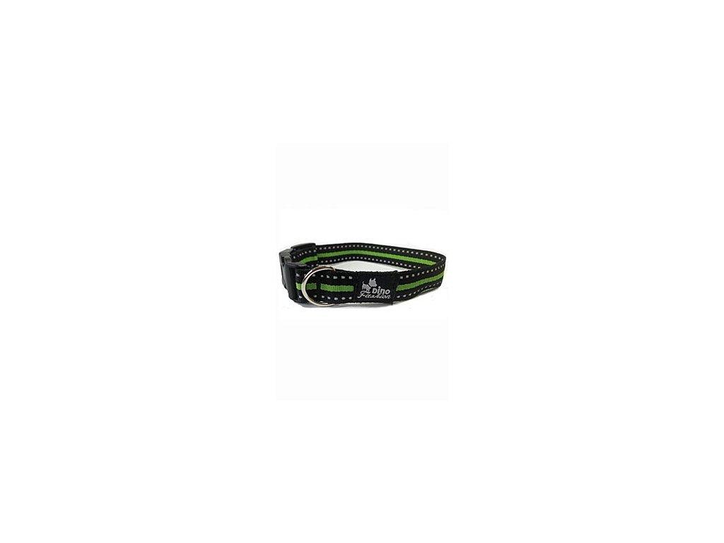 Obojek DINOFASHION reflexní zelený 35/2,5cm