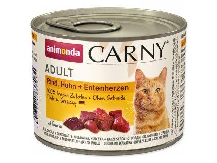 Konzerva ANIMONDA Carny Adult hovězí, kuřecí + kachní srdíčka karton 6 x 200 g