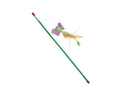 Hračka kočka hůlka s motýlem 47 cm