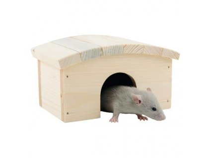 Domek dřevo křeček, myš obloukovitá střecha 14 x 10 x 8 cm