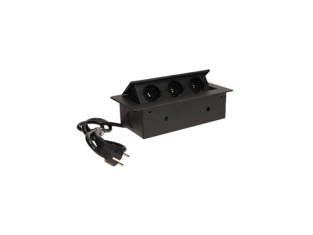 Vestavná, výklopná zásuvková skříňka - barva černá