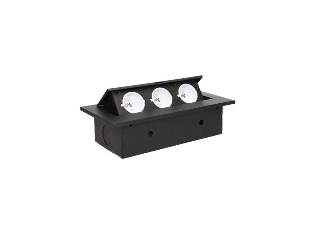 Vestavná, výklopná zásuvková skříňka - černá