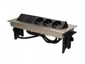Vestavná, výklopná, nerezová zásuvková skříňka - 3 zásuvky 230V a 2x USB, kabel s vidlicí 1,8m ORNO AE 1364 Inox