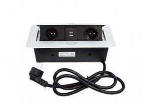 Vestavný, zásuvkový, vyklápěcí zásuvkový modul - 2x zásuvka 230V a 2x zásuvka USB, stříbrná barva ORNO AE 13126G stříbrný