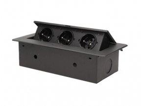 Vestavná, výklopná zásuvková skříňka - 3 zásuvky 230V - černá barva ORNO AE 1336 B černý