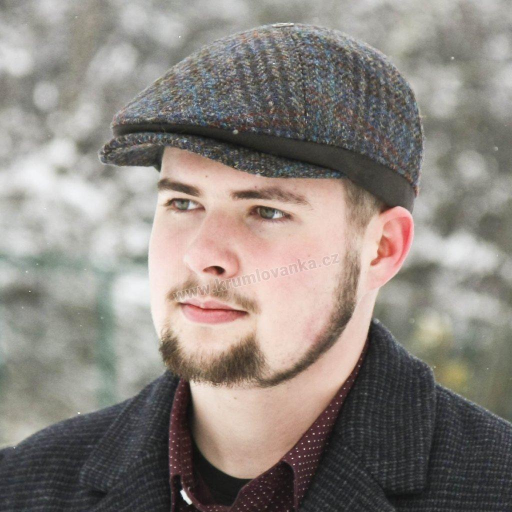Pánská vlněná bekovka Harris Tweed s klapkami na uši