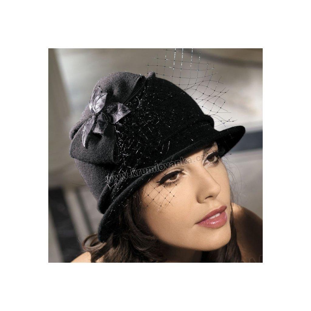 Dámský vlněný klobouk s mašlí