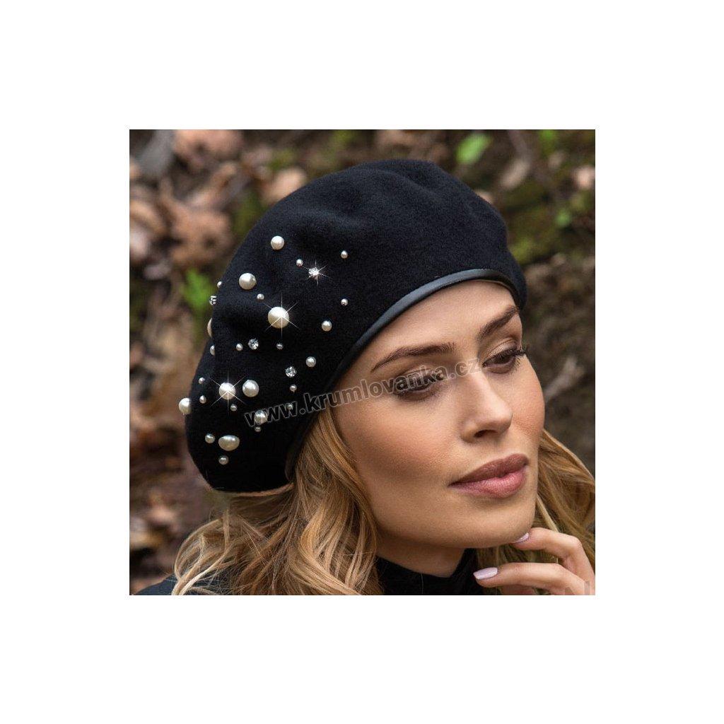 Dámský vlněná baret ALZ zdobený perličkami