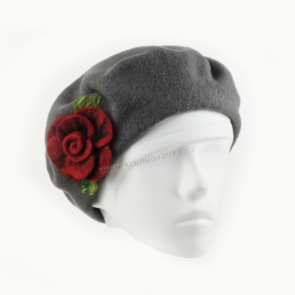 Dámský vlněný baret zdobený rudým květem z vlny