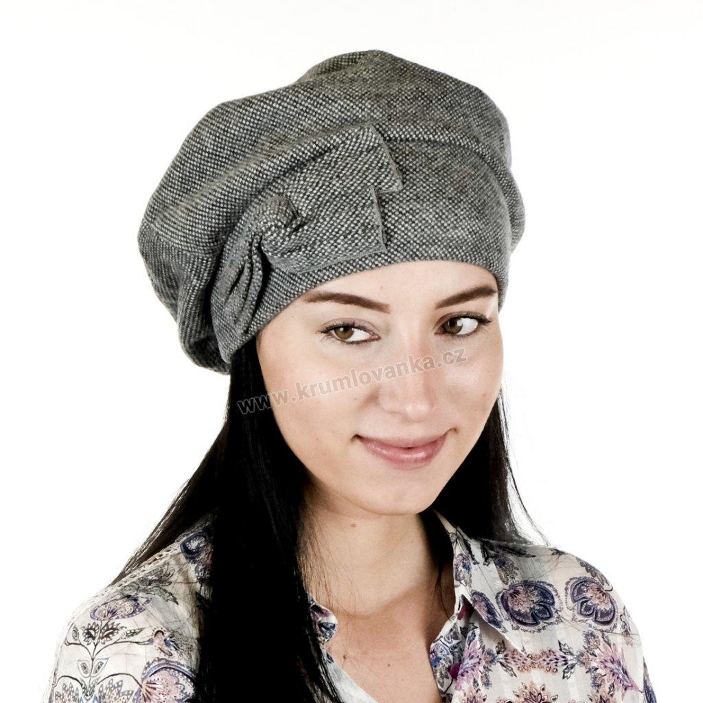 Dámská čepice - baret RUT s mašlí tmavě šedá03