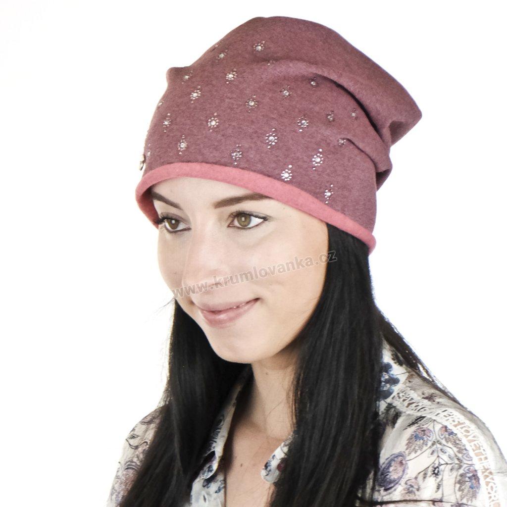 Dámská bavlněná čepice zdobená kapičkami rosy (bižuterie)