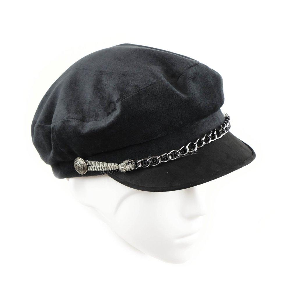 Dámská černá kšiltovka s řetízkem, materiál velur, podšívka flís šedá