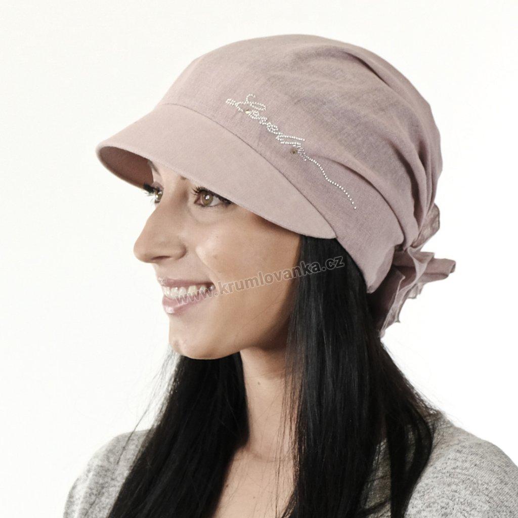 Dámská lněná čepice s kšiltem úvaz 404097 qq