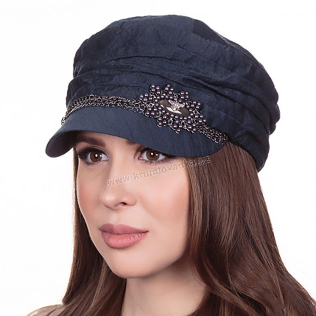 Dámská lněná čepice s kšiltem Krumlovanka 427030 tmavě modrá