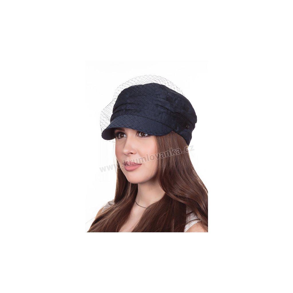 Dámská lněná čepice s kšiltem Krumlovanka 427051 modrá