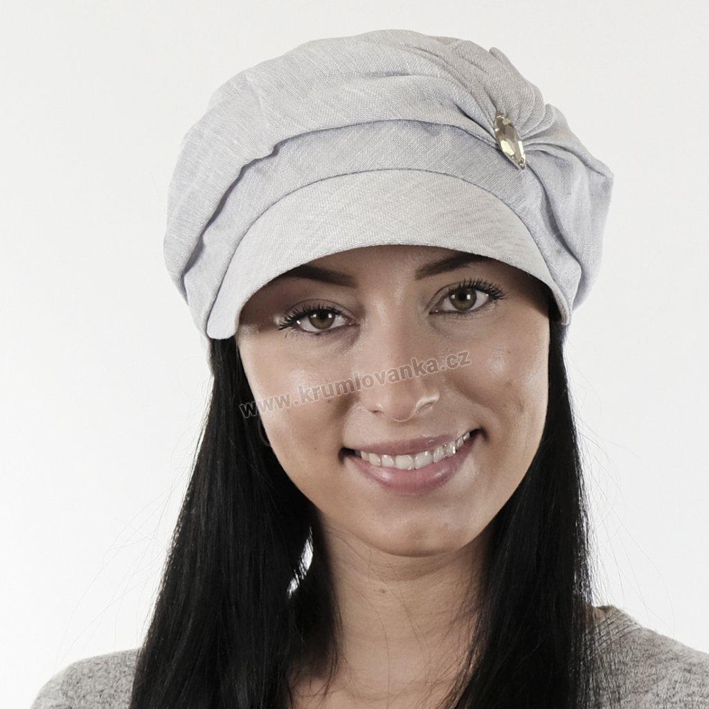 Dámská lněná čepice se kšiltem zdobená šperkem bílá 403316 Level PRO 9x