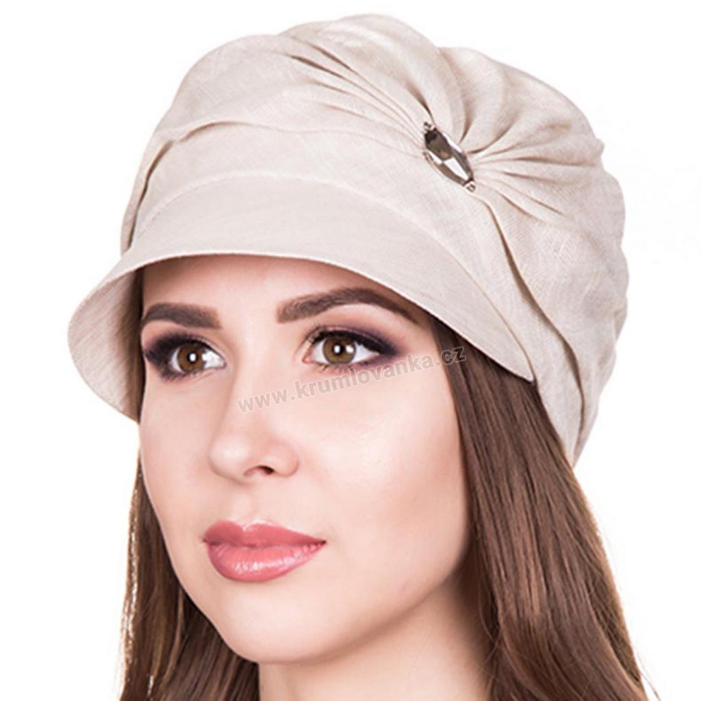 Dámská lněná čepice s kšiltem Krumlovanka 403308 natural1
