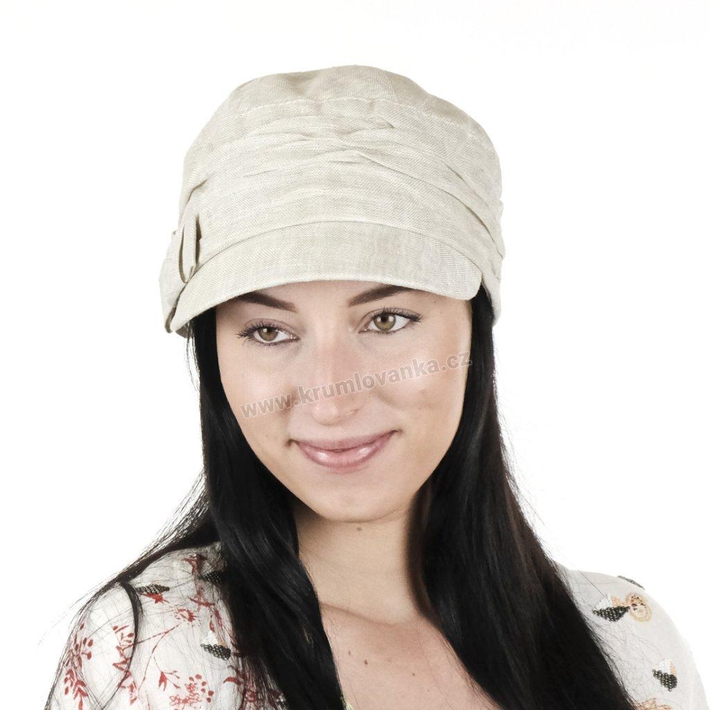 Dámská lněná čepice s kšiltem Kumlovanka 403292 natural