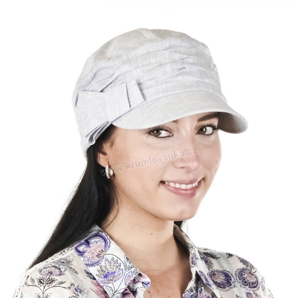 Dámská lněná čepice s kšiltem Krumlovanka 403303 šedá