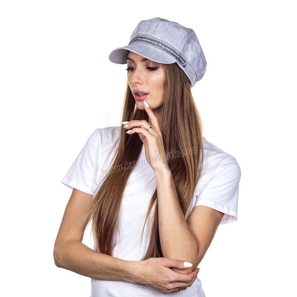 Dámská lněná čepice s kšiltem Krumlovanka 437057 světle šedá