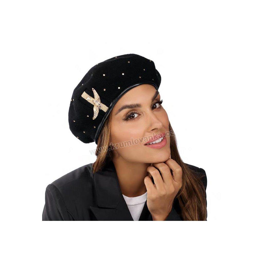 Dámský vlněný baret podšitý flísem se zlatým ptáčkem černý