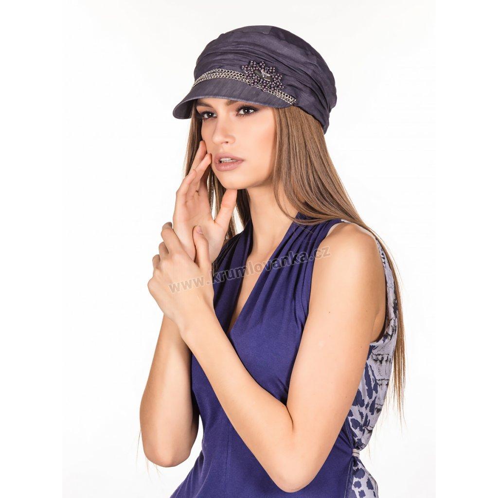 Dámská lněná čepice s kšiltem 428812 zdobená řetízkem