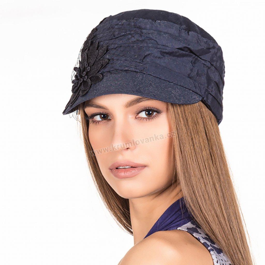 Dámská lněná čepice s kšiltem 427017 se síťkou a květem