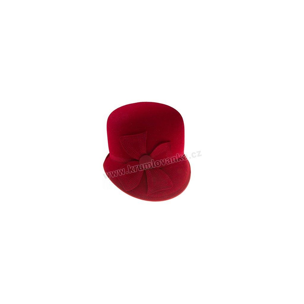 Dámský plstěný klobouk TONAK 52786/15 - vínový zdobený květem