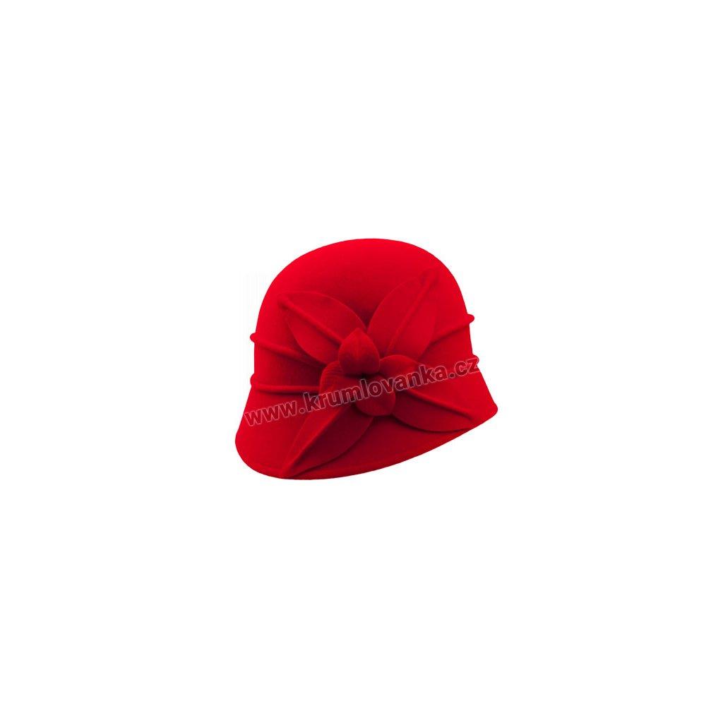 Dámský plstěný klobouk TONAK s květem 52783/15 červená Q 1047