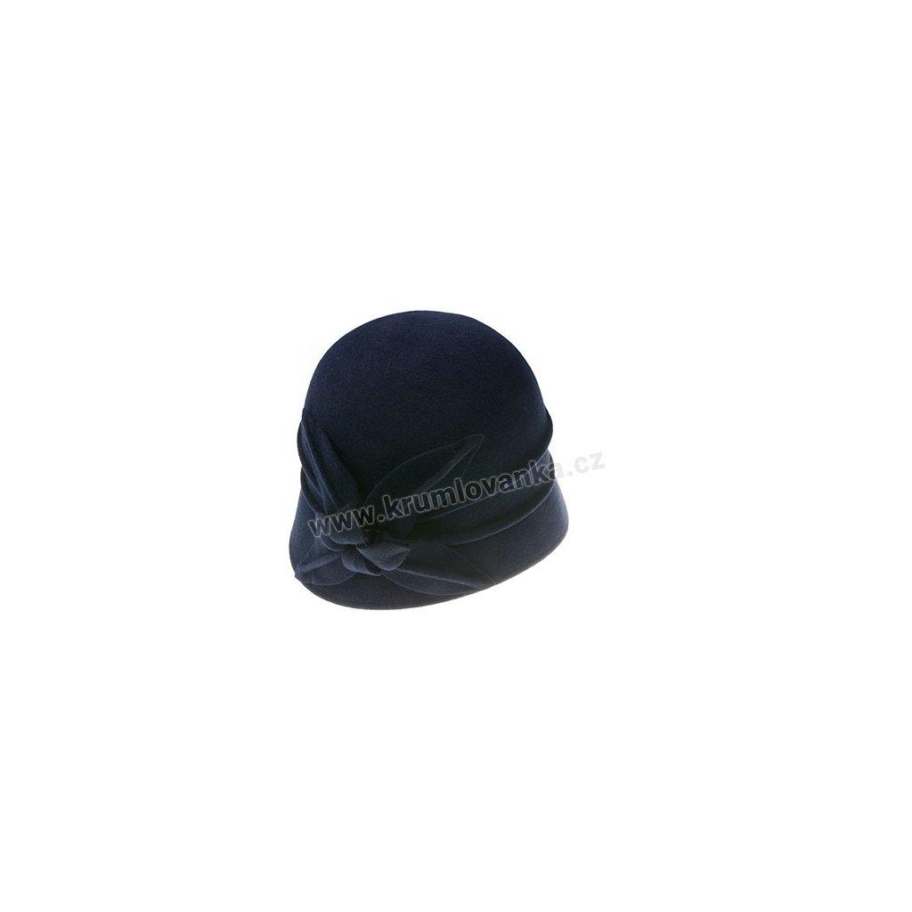 Dámský plstěný klobouk s květem TONAK 52783/15 tmavě modrý Q 3101