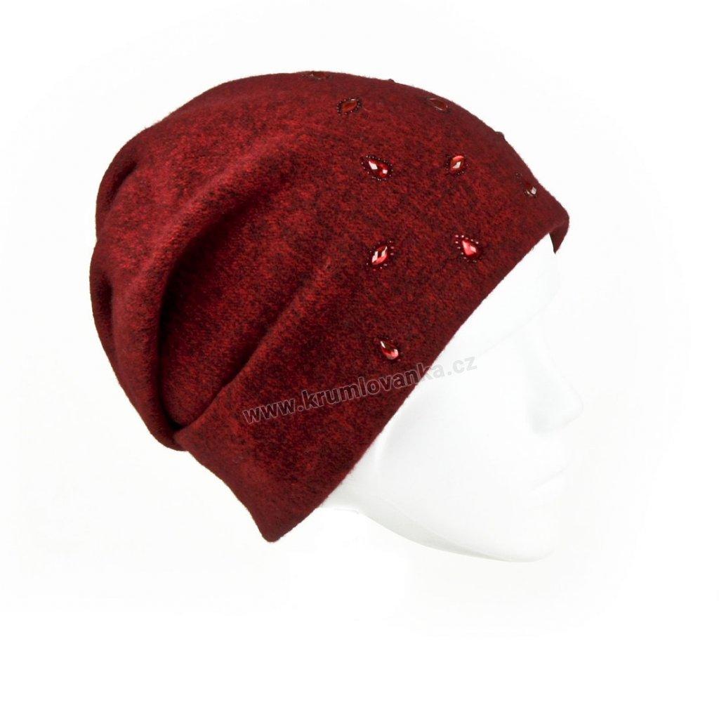 Dámská vlněná čepice PEG červená1